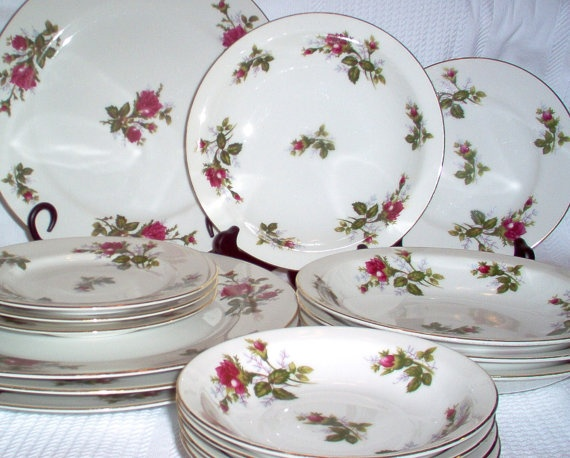 9 best china antique vintage images on pinterest dish dishes and 1950s moss rose fine china 27 pieces service for four vintage china moss rose vintage china fandeluxe Image collections