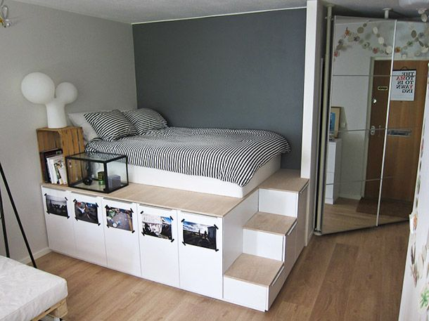 Part IKEA, part Tetris, this raised platform bed is constructed for optimal space efficiency and storage.