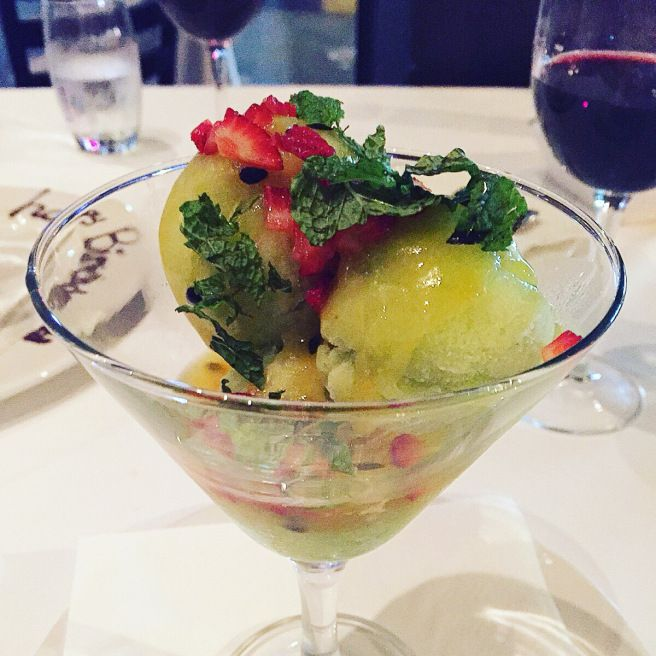 Prickly pear, lime & passion fruit sorbet! Click to get the full review of this dish and the dining experience at Harvey's in Umhlanga, Durban
