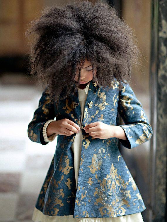 Girls Navy & Gold JORDAN Brocade Tailored Coat - Lilla Grey F/W '13 Pompeii Dreams Collection on Etsy, 180,19€
