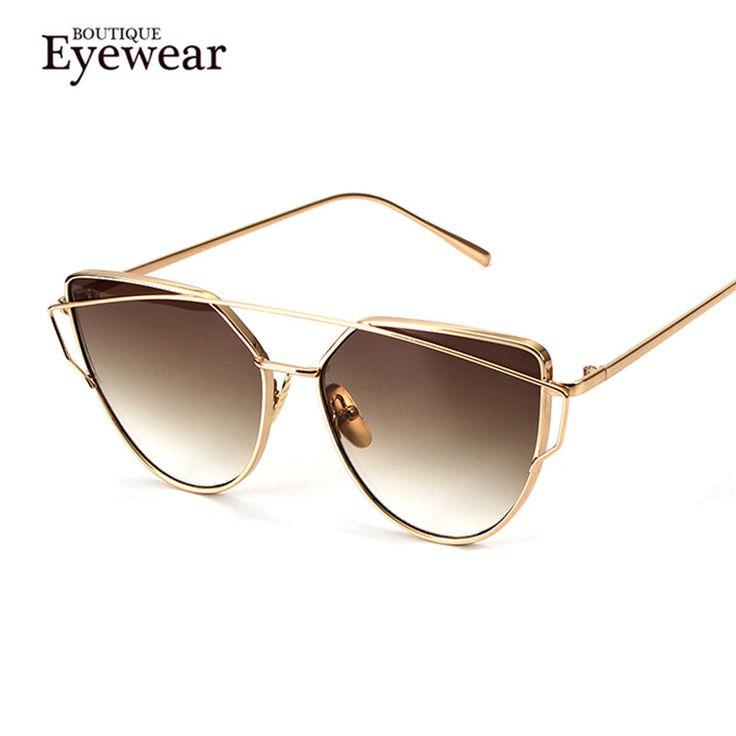 BOUTIQUE Cat Eyes Women Sunglasses Women Summer Style Vintage Sun glasses Woman Double-Deck Alloy Frame H963