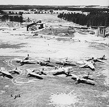 Dornier Do 335 --- Do-335s on the apron at Oberpfaffenhofen at the war's end, including unfinished two-seat versions