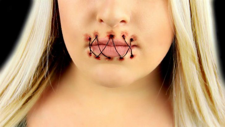 Pin for Later: 10 Special-Effects DIYs to Create Your Creepiest Halloween Costume Yet Stitched Mouth