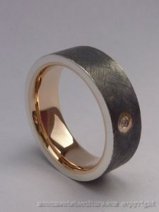 22ct Pink gold lined Sterling silver diamond mens ring