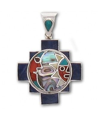 Unique reversible sterling silver chakana pendant featuring a Sun /Moon design on one side and a equally beautiful triangle pattern on the other side. The center disk section spins on its north/south axis revealing the alternate design. This pendant features lapis, spondylus, espondilo and mother of pearl. Hand crafted in Cuzco, Peru.