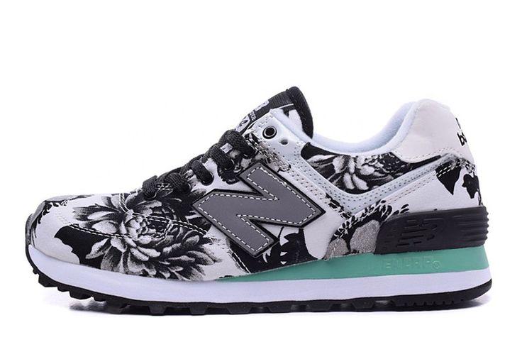 New Balance 574 Womens Trainers WL574QWG Flower Black White Peony Shoe