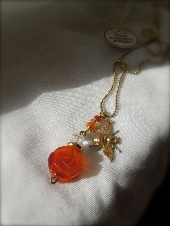 Agate Flower & Brass Bee / Ball Chain Necklace by StellaMargaritis, $38.00