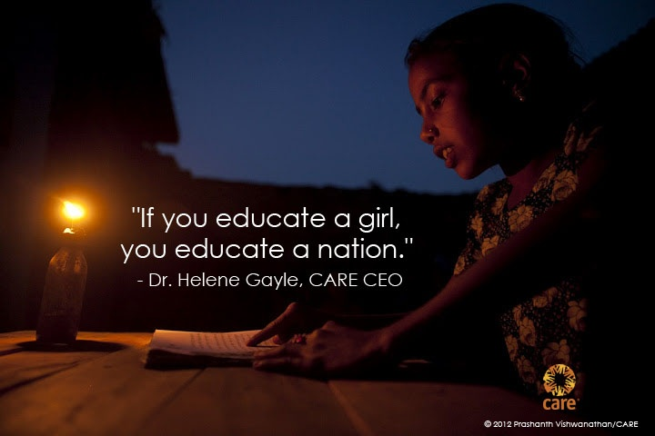 """If you educate a girl, you educate a nation."" - Dr. Helene Gayle, CARE CEO  PHOTO: 2012 Prashanth Vishwanathan/CARE #Ayni #Education  #proliteracy #educate #help #children #thirdworld #nonprofit #donate #sponsorachild #jashnadesign"