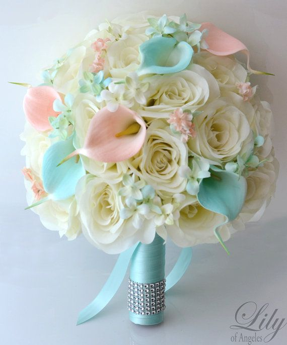 """17 Piece Package Wedding Bridal Bride Maid Of Honor Bridesmaid Bouquet Boutonniere Corsage Silk Flower TIFFANY BLUE PEACH """"Lily of Angeles"""""""