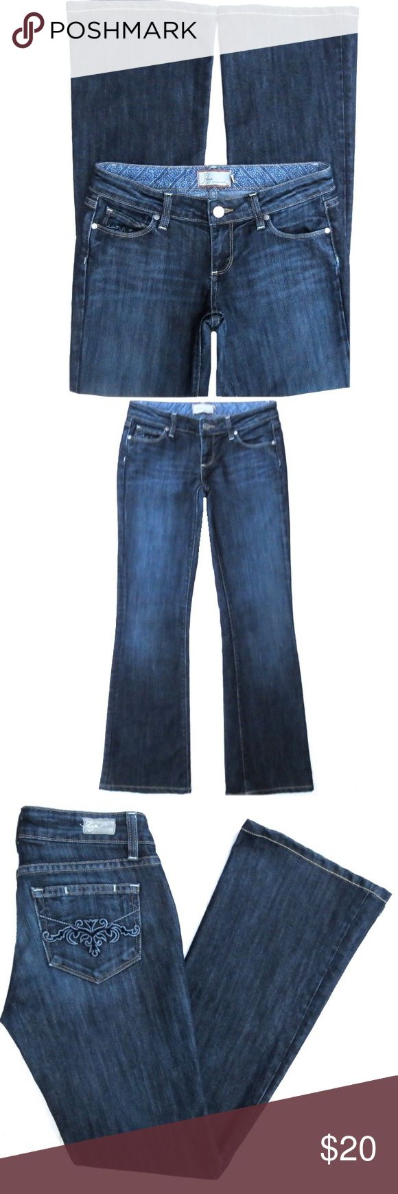 "Paige Premium Denim Laurel Canyon Jeans Paige Premium Denim Laurel Canyon jeans. Dark blue, distressed wash. Cotton/Polyester. Size 26. They have a 8"" rise and 31"" inseam. They have been hemmed. Amazing fit! Paige Jeans Jeans"