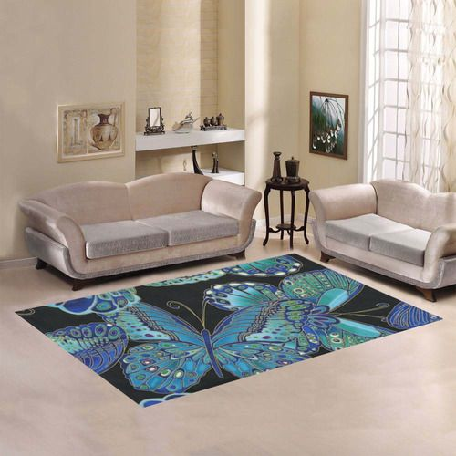 Teal Butterfly Pattern Area Rug7'x5'