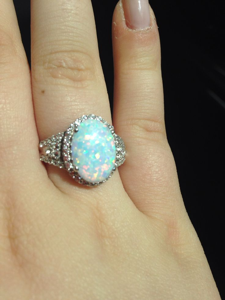 Zales Opal Ring Cushion Cut Lab Created Three Stone With
