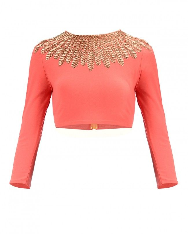 Monarch Orange Gold Feather Top - New Arrivals | SHOP NOW ON : http://bit.ly/NamrataJoshipura_shop