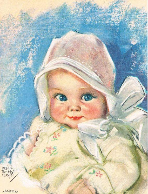 Maud Tousey Fangel Baby Bunting Calendar Art by RedfordRetro, $15.00