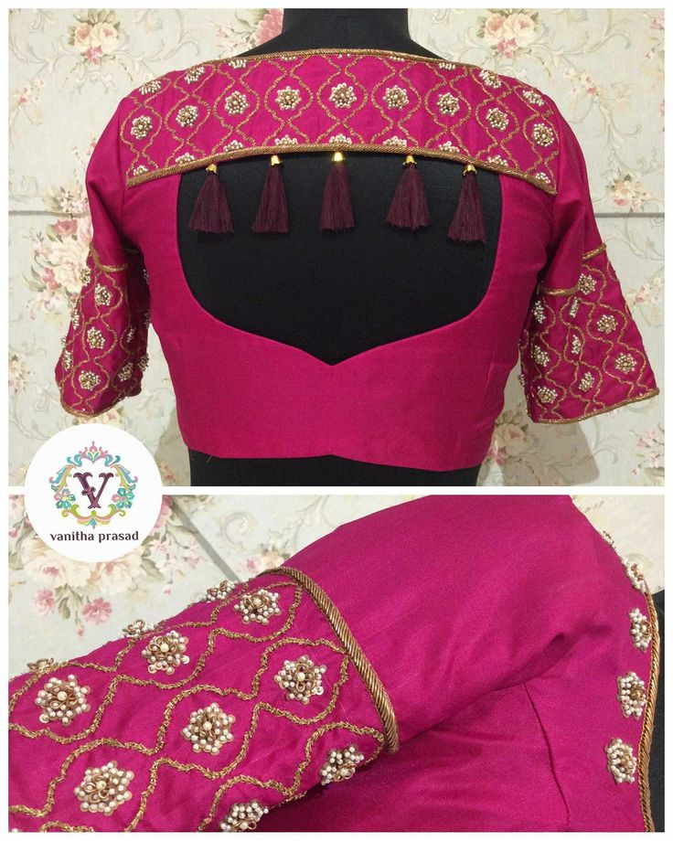 Trendy silk blouse with beautiful tassels from Vanitha couture..  30 April 2017