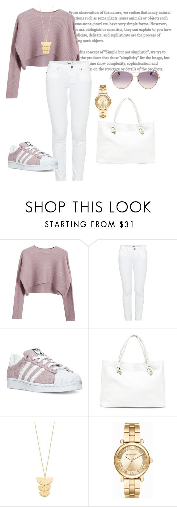 """Untitled #4"" by rwenx ❤ liked on Polyvore featuring Chicnova Fashion, Paige Denim, adidas, Sole Society, Gorjana, Michael Kors and Roberto Cavalli"