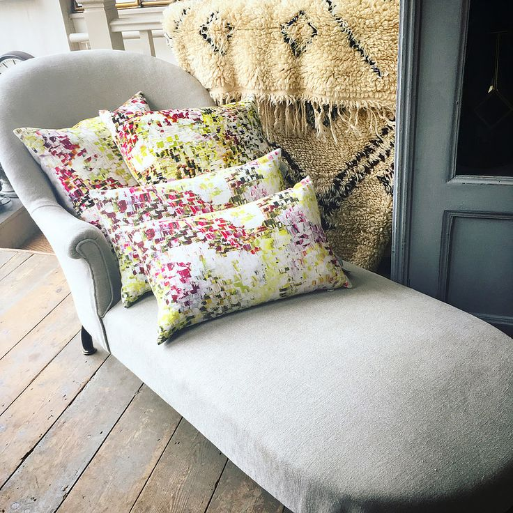 Early twentieth century chaise lounge fully reupholstered in a classic GP Baker linen   Elizabeth Lee Interiors