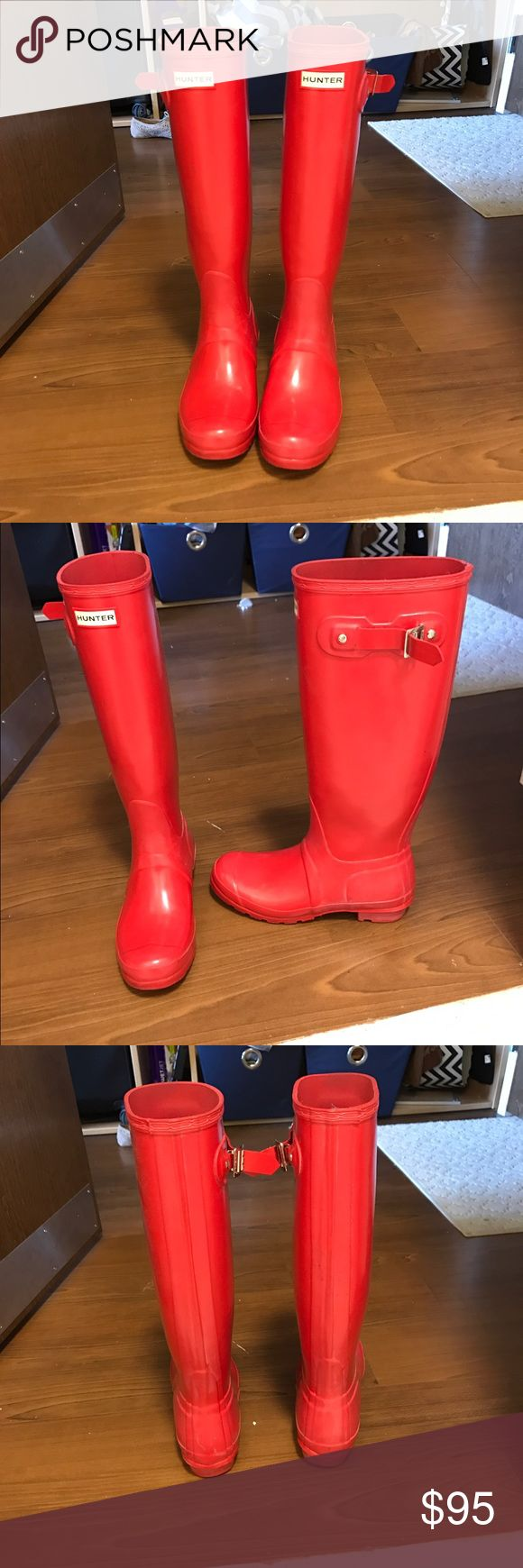 Tall Red Matte Hunter Boots For sale , great condition , everything intact. Only worn couple times. More detailed pictures or questions just request . Offers welcomed Hunter Boots Shoes Winter & Rain Boots