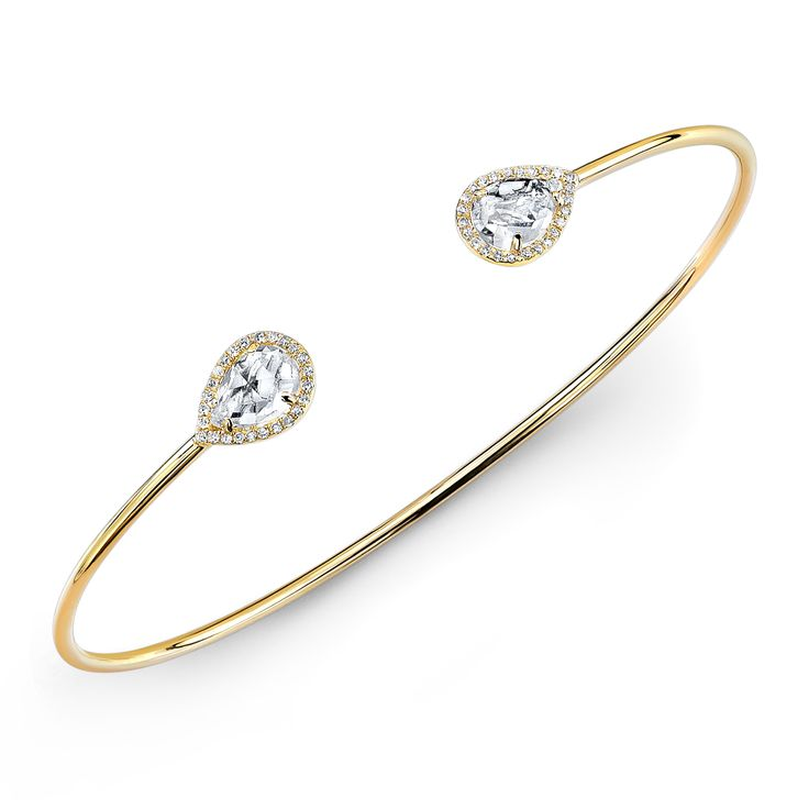 Topaz and Diamond Bangle - Available in Yellow (shown), Rose, and White Gold.