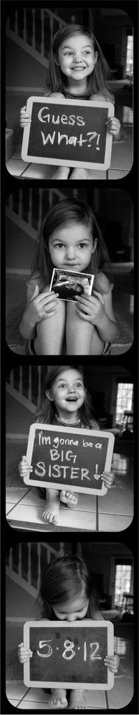 Cute idea for announcing Hart baby #2 one day...and hopefully he'll be about as old as the little girl in this photo. ;-) - Click image to find more Photography Pinterest pins