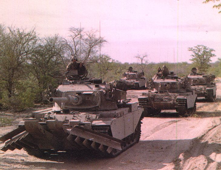 Don't ever remember seeing these mine clearing tanks - don't look like SADF