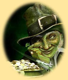 The ever-elusive leprechaun with his pot o' gold...Really nice web page about Irish folklore...I must say, the artist's (Scott Padgett) rendition of a leprechaun is awesome!