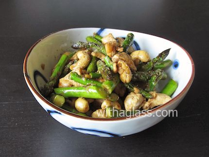 Stir Fried Asparagus, Chicken and Cashews from sissi at with a glass