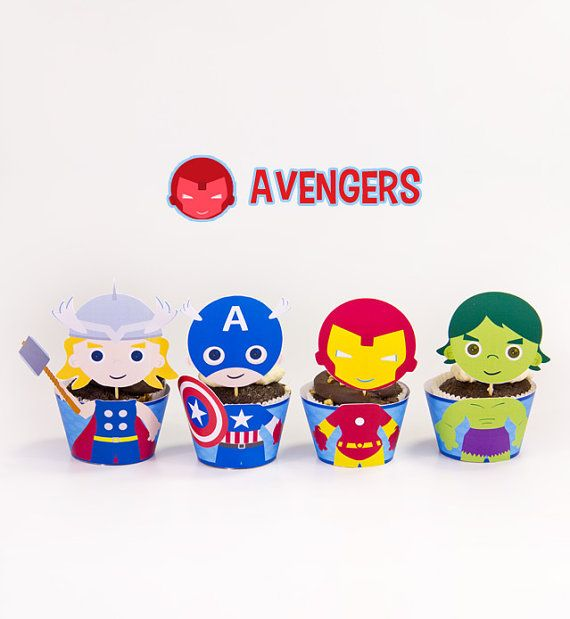Avengers Superhero Inspired Cupcake Toppers Wrappers Birthday Party Printables / Instant Digital Download DIY on Etsy, $7.99