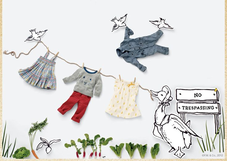 Adorable mix of props, laydowns, illustration for this Gap NL promoting BabGap.