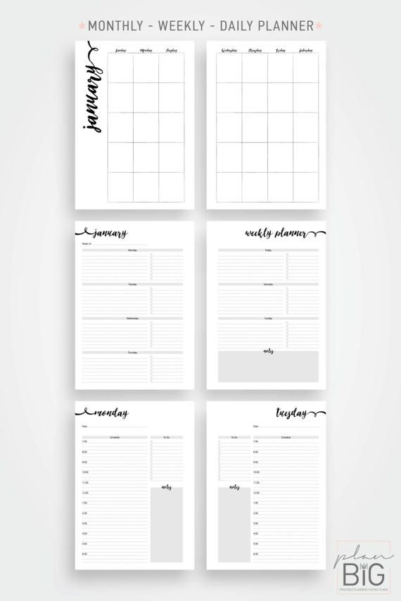 Printable 8.5 x 11 planner - Business planner This listing is for the gorgeous printable planner pictured above. It is designed to print on letter sized paper and features a beautiful rose gold effect. They will fit your Big Happy planner perfectly! It is a great tool to keep your business organized! Apart from the yearly overview, the planner is undated so that you can use it over and over again without having to purchase a new one each year. #ad