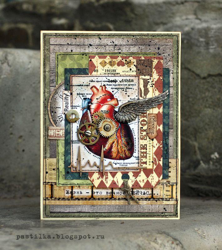 Скрапбукинг открытка гранж, днем рождения мужчине