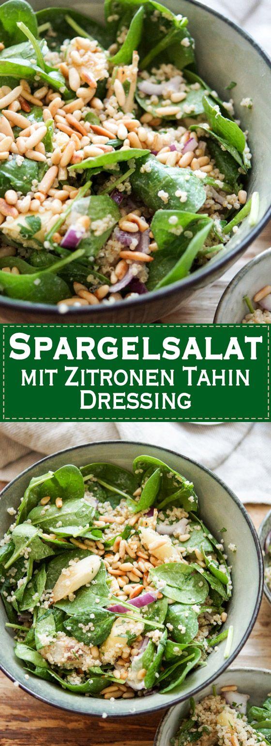 Dieses Rezept für Spargelsalat bietet eine überraschende Kombination aus geröstetem weißem Spargel, Quinoa, zartem Baby-Spinat und einem Zitronen Tahin Dressing mit Pinienkernen. Der Salat ist vegan, glutenfrei und extrem lecker. Einfache, Gesunde Rezepte - Elle Republic