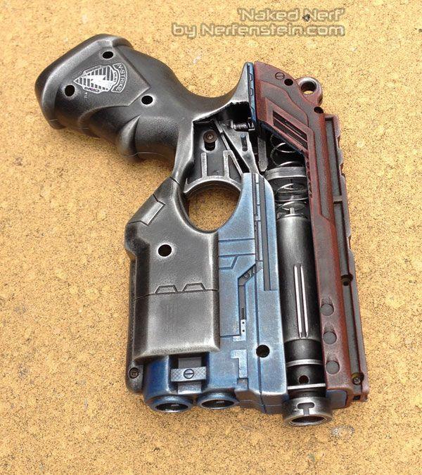 Steampunk Nerf Gun LARP cosplay modified dark gold large gun with full  cartridge