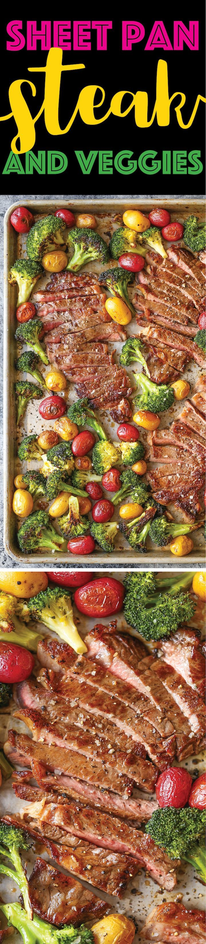 Sheet Pan Steak and Veggies - Perfectly seasoned, melt-in-your-mouth tender steak with potatoes and broccoli. All made on 1 single sheet pan! EASY CLEAN UP!  #recipes #recipesfordinner #recipeseasy #recipeshealthy #recipeswithgroundbeef #recipesfordinnereasy