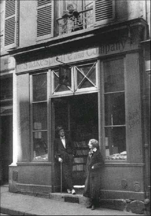 SHAKESPEARE & COMPANY Bookstore.  James Joyce and Sylvia Beach in the doorway. 37 rue de la Bûcherie,  5th arrondissement, Paris