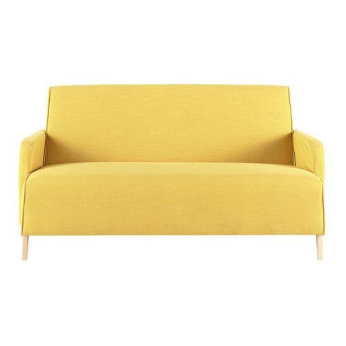 Gele stoffen 2 plaatsen zitbank - Adam