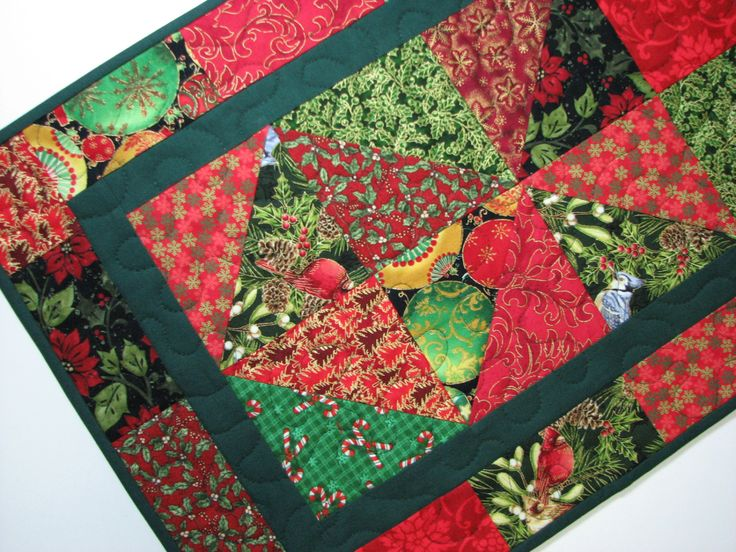 quilted table runner christmas table runner red and green traditional christmas table runner by