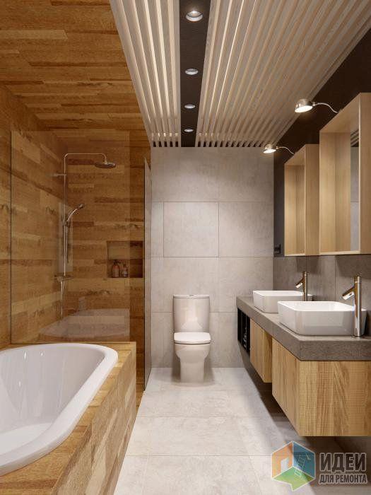 Дизайн-проект в таунхаусе, ванная комната отделка под дерево