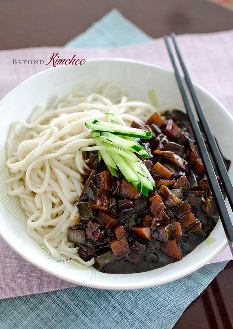 Korean noodles with black bean paste (Jjajangmyun)