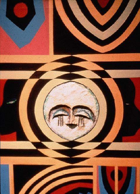 The rise of Harlem Renaissance. Lois Mailou Jones - Moon Mask, acrylic on canvas, (1971).
