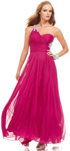 Xscape Sleeveless One Shoulder Beaded Gown Dress  in Purple (Iris)
