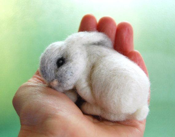 Sleeping Felted Bunny. Baby Bunny Felted. Needle by ElisaShine