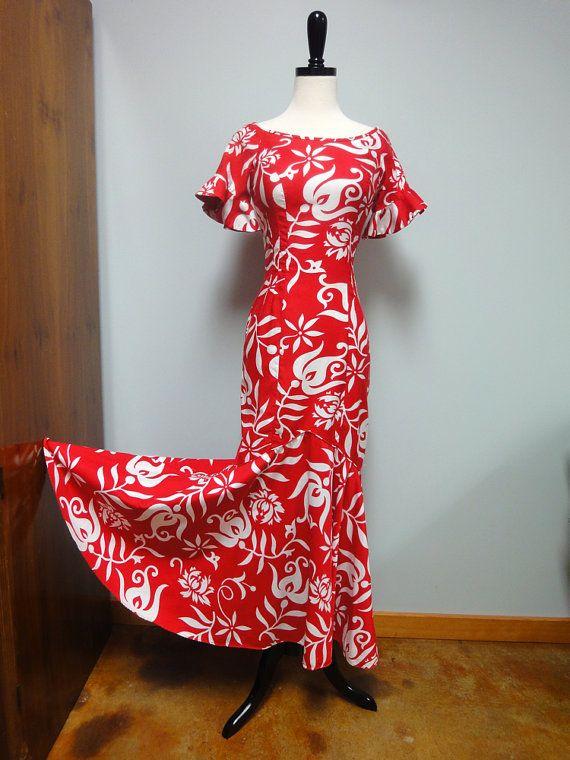 Vintage Hawaiian Dress Holoku Long Mermaid Dress by StelmaDesigns
