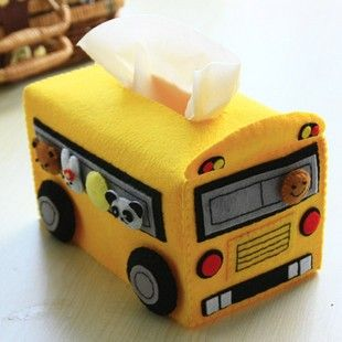 Bus-caja de pañuelos en fieltro