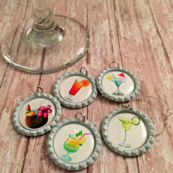 Tropical Wine Glass Charms- wineglass charms, glass markers, glass tags, party favor, barware, bar accessories, birthday gift