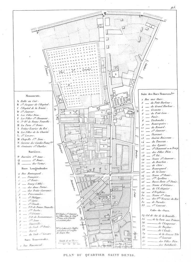 Plan du quartier Saint-Denis - Plan de Paris en 1839 - Dressé par Charle & gravé par P. Rousset pour J. de Marlès à Bruxelles