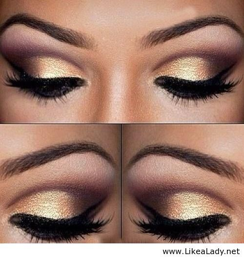 Gold eye makeup. Get these colors at www.LashAndLipLady.com gorgeous and daring eye shadow pigments!