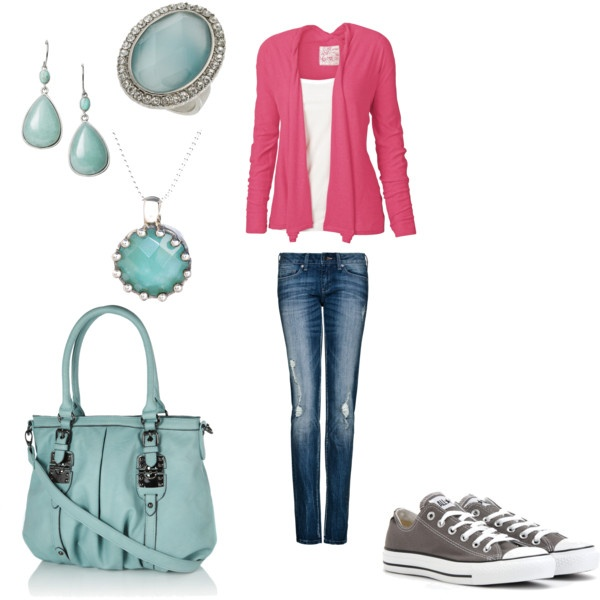 Pink and AquaColors Combos, Blue, Than, Converse, Candies Pink, Closets Fashion, Pink Jeans, Aqua Convers Outfit, Purses