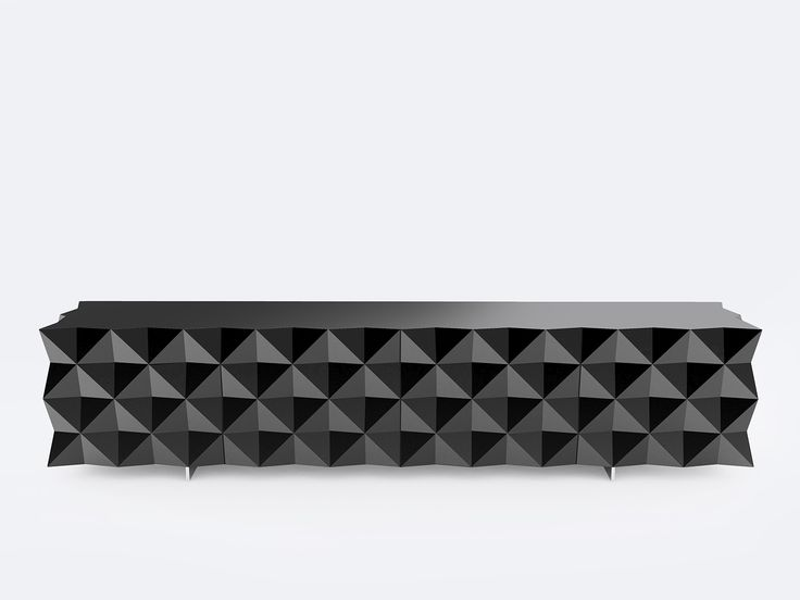 Rocky TV Cabinet - Entertainment system from the Rocky Collection designed by Joel Escalona, configured with four compartments, detailed in its sides and front with pyramid pattern and cable outlet at the bottom rear. Made of particle board and chromed metal legs. Finished in semi-gloss lacquer interior and exterior with different tones.  #TVstand #Furniture #coolinteriors #Storage  #Design #Cabinet