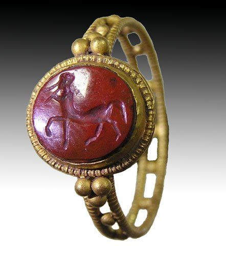 Centaur Roman Gold Ring - Red Jasper Intaglio, ca 3rd century A.D.